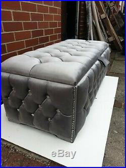 Large Grey Plush Soft Velvet fully upholstered storage Box Ottoman Gas Lift