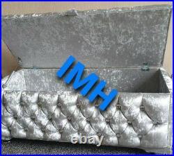 Large Silver Crushed Velvet Fully Upholster Ottoman, Footstool, Toys, Blanket Box