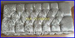 Large Silver Crushed Velvet Fully Upholster Storage Ottoman, Toys Box & Bench