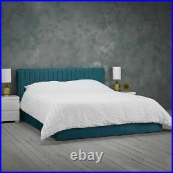 Luxury Berlin Teal Velvet Ottoman Storage Bed 4ft Small Double
