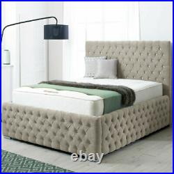 Luxury Chesterfield Gas Lift Up Ottoman Storage Bed Frame Base with Headboard