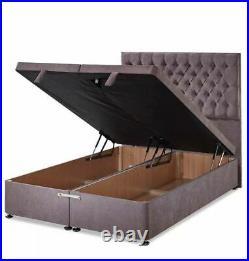 Luxury Crushed Velvet Ottoman Divan Bed Frame -End Lift Storage -Mattress Option