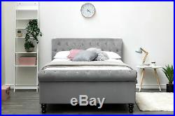 Luxury Grey Velvet Sleigh Bed Frame Side Lift Storage Ottoman Double King Size