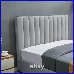 Luxury Life Sofia Ottoman Grey Velvet Fabric Storage Bed Lift-Up Double King