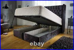 Luxury Ottoman Gas Lift Storage Bed Chenille Velvet Fabric Wing Back Headboard