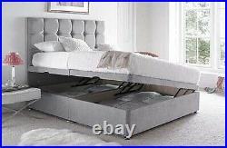 Luxury Plush Velvet Ottoman Divan Bed Frame Side Lift Storage