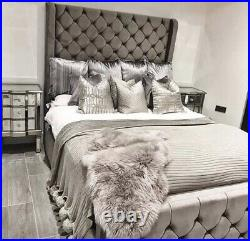 Luxury Plush Velvet Wing Back Colorado Bed, Chesterfield Bed Wingback Bed
