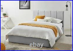 Luxury Silver Grey Velvet Bed Storage/Ottoman Double/4ft6 Mayfair Time4Sleep