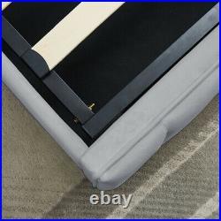 Luxury Sofia Ottoman Grey Velvet Fabric Storage Bed Lift-Up Double King Size