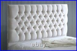 Luxury Soft Velvet Chesterfield Ottoman Storage Gas Lift Bed Headboard Mattress