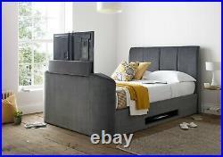 Luxury TV Bed Charcoal/Grey Velvet Ottoman/Storage Double/4ft6 Copenhagen