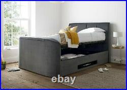 Luxury TV Bed Charcoal/Grey Velvet Ottoman/Storage King Size/5ft Copenhagen