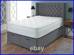 Luxury Velvet Cube Wing Back Gas Lift Ottoman Storage Divan Bed Base Headboard