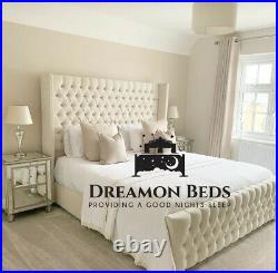 Luxury Wingback Bed Frame 4'6 Double 5ft Kingsize 6ft Superking Plush Crushed