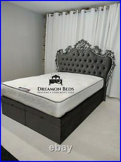 Luxury Wingback Bed Frame Ottoman Storage Chesterfield 4'6 Double 5ft Kingsize