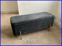 MADE Asare 110cm Upholstered Ottoman Storage Bench, Midnight Grey Velvet