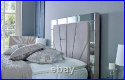 MIRROR BED 4.6ft Double Ottoman Storage Bed with Super Strong Metal Frame