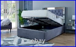 MIRROR BED KING SIZE 5FT Ottoman Storage Bed with Super Strong Metal Frame