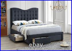 Manhattan Upholstered 4 Drawer Storage Bed Fabric Bed Light Grey Black Modern