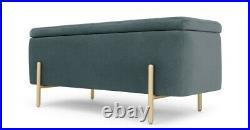 Marine Green Velvet Upholstered Storage Bench/Ottoman (brass metal legs)