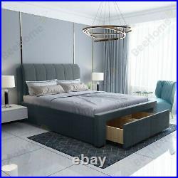 Milan Grey Plush Velvet Upholstered 2 Drawer Storage Bed 4FT6 Double 5FT King