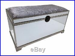 Mirrored Glass Large Storage Blanket Box Trunk Stool Bench Velvet Upholstered