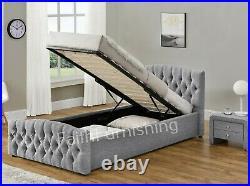 Modern Chesterfield Single Gas Lift Ottoman Storage Bed Chenille Velvet Linen UK
