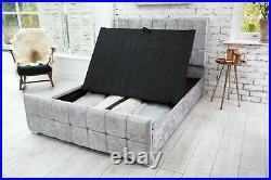 Modern Crush & Plush Velvet Storage Fabric Beds Memory Foam Mattress