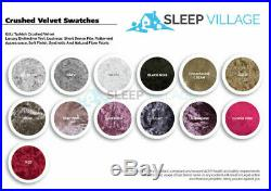 Modern Crushed Velvet Chesterfield Sleigh Bed + Mattress & Ottoman Box Free P&p