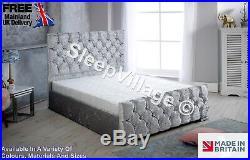 Modern Crushed Velvet Upholstered Bed Mattress Ottoman Box 3ft 4ft 4ft6 5ft 6ft