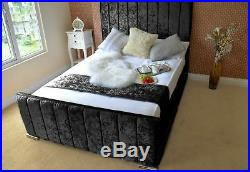 Modern Crushed Velvet Upholstered Line Bed Matt Ottoman Box 3ft 4ft 4ft6 5ft 6ft