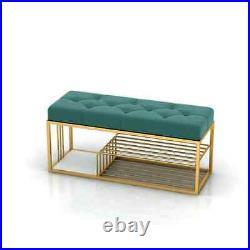 Modern Entryway Tufted Bench Green Velvet Upholstered for End of Bed in Gold