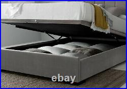 Modern Frances Grey Velvet Upholstered Ottoman/Storage Bed Frame Double 4ft 6
