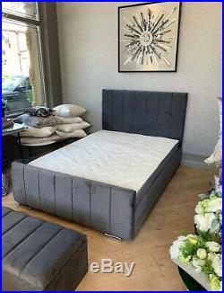 Modern Plush Soft Velvet Upholstered Line Bed Matt Ottoman Box 3ft 4ft 4ft6 5ft