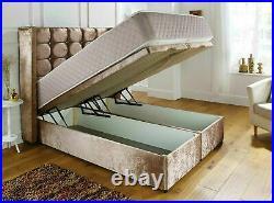 Modern Plush Velvet Ottoman Storage Divan Bed Frame with Cube Winged Headboard