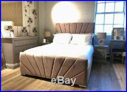 Modern Plush Velvet Upholstered Bed Mattress Ottoman Box 3ft 4ft 4ft6 5ft 6ft