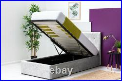 Modern Silver Crushed Velvet Ottoman Storage Bed Frame Single Double King Size