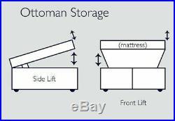 Modern Soft Plush Velvet Ottoman Storage Gas Lift Storage Divan Bed Frame Base