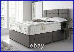 Modern Storage Drawers Upholstered Divan Bed Frame Base with Free Headboard UK