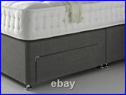Modern Upholstered Bed Storage Bed Drawers Divan Bed Frame Base with Headboard