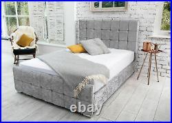 Monaco Crushed Velvet Cube Upholstered Storage Fabric Bed Double & King