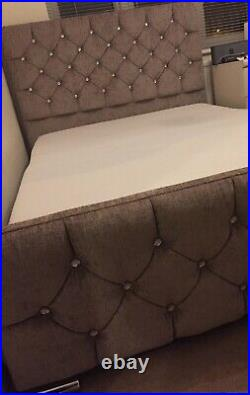 Monaco Upholstered double bed frame in Mink with underneath storage