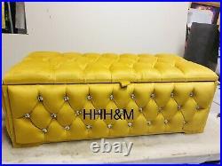 Mustard Gold Plush Soft Velvet Ottoman Storage Blanket Box. Fully Upholstered