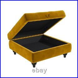 Mustard Yellow Ottoman Storage Footstool Buttoned Inez INE007