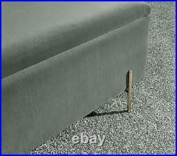Mystica Upholstered Ottoman Box Storage Bench Fabric Blanket Box Grey