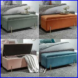 Mystica Upholstered Ottoman Box Storage Bench Fabric Blanket Box Stool