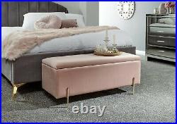 Mystica Upholstered Ottoman Box Storage Bench Fabric Blanket Box Stool Pink