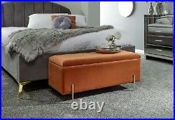 Mystica Upholstered Ottoman Box Storage Bench Fabric Blanket Box Stool Russet