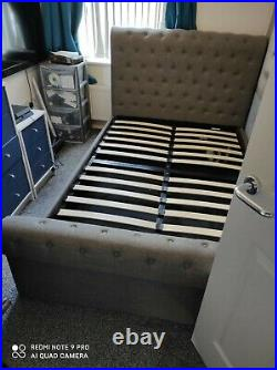 NEW SLEIGH SELINA OTTOMAN GAS LIFT STORAGE FABRIC BED FRAME GREY double bed