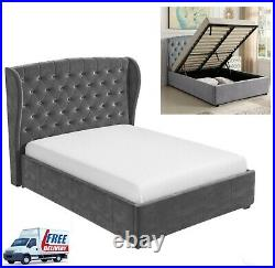 NEW Wing Back Double Ottoman Gas Lift Storage Bed Frame in Grey Velvet. ON SALE